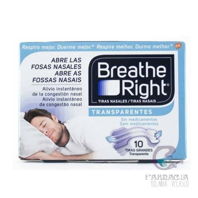 BREATHE RIGHT TIRA ADH NASAL TRANSPARENTE TALLA GRANDE 10 UNIDADES