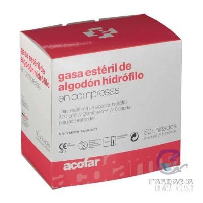 Gasa Estéril Algodón Hidrófilo Compresas Acofarm 50 Unidades
