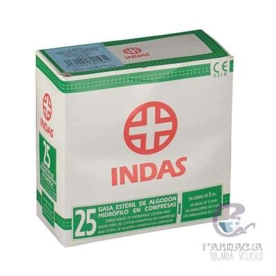 GASA ESTERIL ALGODON HIDROFILO COMPRESAS INDAS S 25 UNIDADES