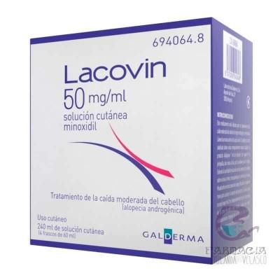 Lacovin 50 mg/ml Solución Cutánea 4 Frascos 60 ml