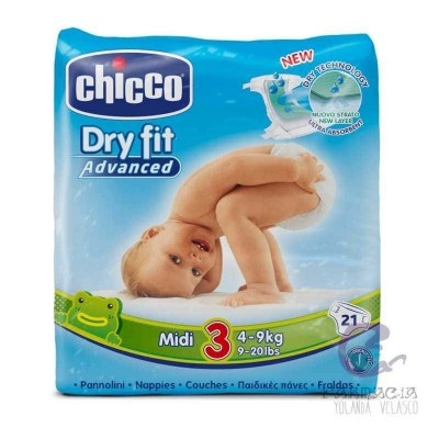 Pañal Dry Fit Chicco 4-9 kg 21 Unidades