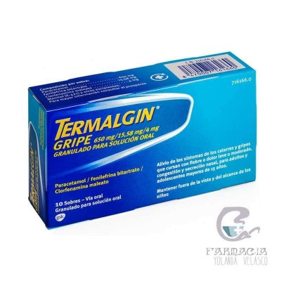 Termalgin Gripe 650/4/10 mg 10 Sobres Granulado Solución Oral