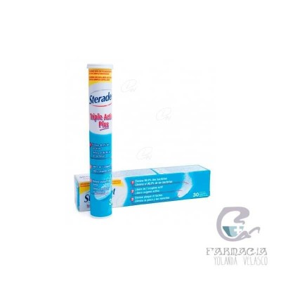 Steradent triple Acción Plus Limpieza Prótesis Dentales 30 Comprimidos