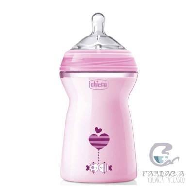 Biberón Plástico Tetina Silicona Chicco Natural Feeling Rosa 6m+ 330 ml