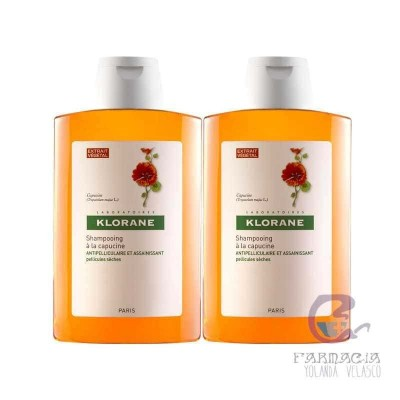 Klorane Champú Anticaspa Extracto de Capuchina Pack Duo 2x200 ml