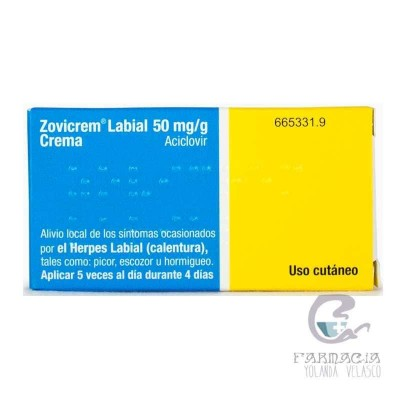 Zovicrem Labial 50 mg/g Crema 1 Tubo 2 gr
