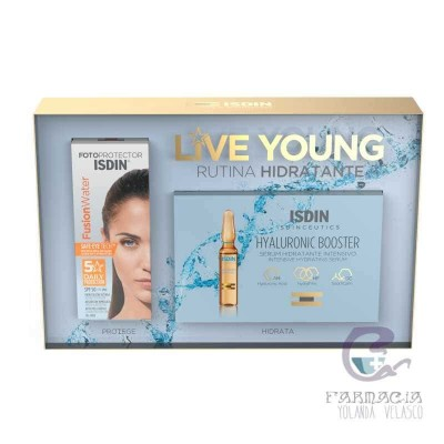 Isdin Pack Photoaging Fusion Water + 5 Ampollas Hyaluronic Booster