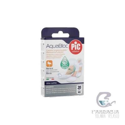Pic Aquabloc con Bactericida Apósito Adhesivo Surtido 20 Unidades